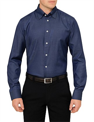 TEXTURED PLAIN SLIM FIT SHIRT
