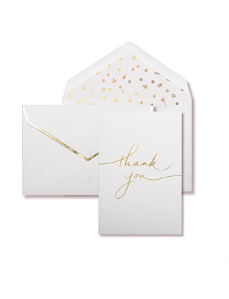 APW Boxed Thank You Cards - White & Gold