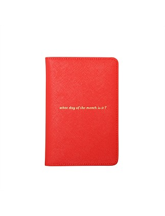 APW Leather Passport Cover - What Day - Orange & Pink