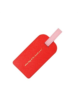 APW Leather Luggage Tag - What Day - Orange & Pink