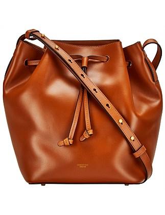Escape Medium Bucket Bag Black Cognac Oroton