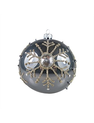 ORN-BAUBLE PEWTER BALL W BEAD SNOWFLAKES 10CM