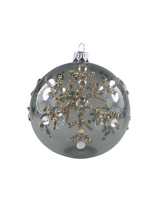 ORN-BAUBLE PEWTER WITH GOLD GLITTER SNOWFLAKE 10CM