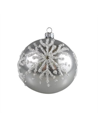 ORN-BAUBLE RED MATTE WITH WHITE BEAD SNOWFLAKE 10CM