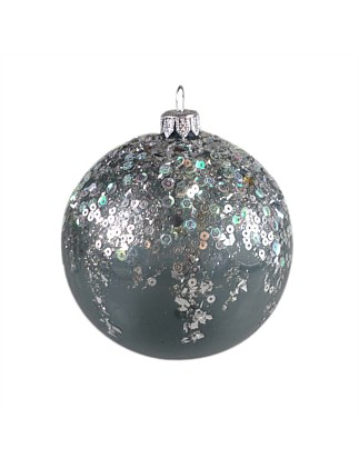 ORN-BAUBLE TRANSPARENT SILVER WITH CASCADING SEQUINA 10CM