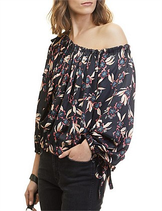 Rouched Hibiscus Blouse