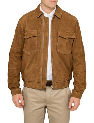 Suede Leather Military Jacket