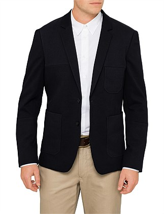 Mixed Jersey Cut And Sew Blazer