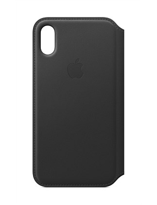 IPHONE X LEATHER FOLIO BLACK