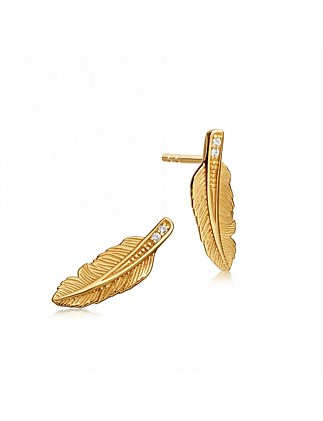 Mini Feather Biography Stud Earrings
