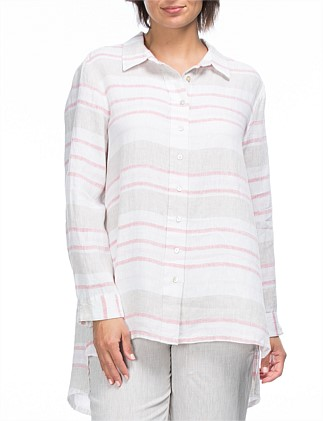 Yarn Dyed Multi Stripe Linen Shirt