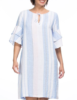 Yarn Dyed Stripe Linen Tie Dress