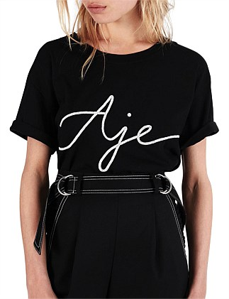 Aje Cropped Ribbon Tee