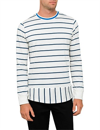 Cut And Sew Stripe L/S Tee