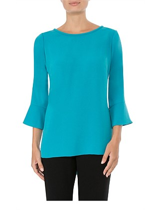 TURQUOISE CREPE TOP