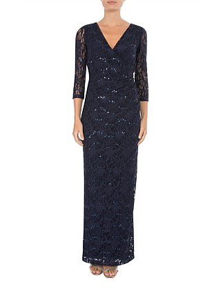 MIDNIGHT SEQUIN LACE GOWN