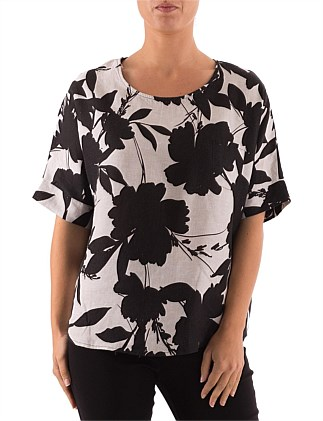 3/4 SLEEVE ABSTRACT FLORAL PRINT TOP