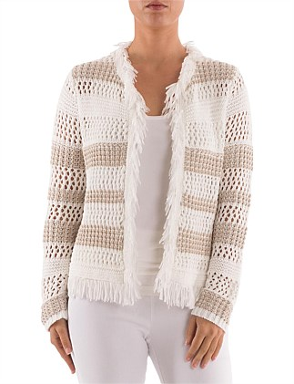 e56c0cdb9d 7 8 CROTCHET SLEEVE FRINGE CARDIGAN On Sale. Ping Pong