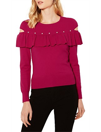FRILL AND STUD KNITTED JUMPER