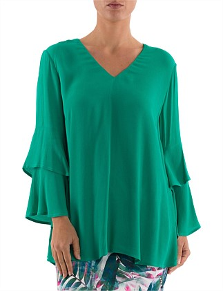 7/8 Double Bell Sleeve Top