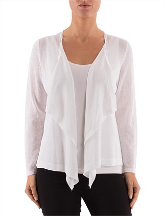 45182bf693 7 8 Sleeve Sheer Waterfall Cardigan On Sale. Ping Pong