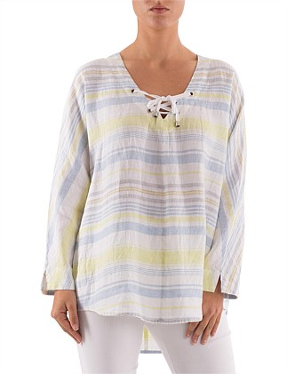 3/4 Sleeve Multi Stripe Linen Lace Up Top