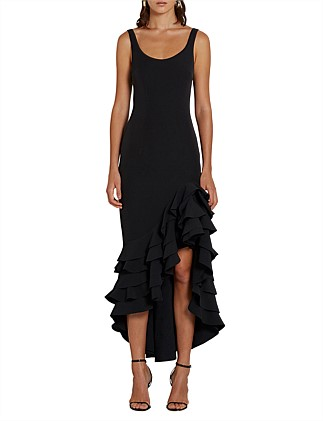 THE POPPY BLACK FRILLS GOWN