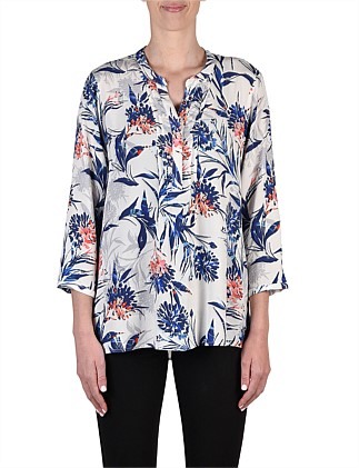 Pintuck Shadow Floral Shirt