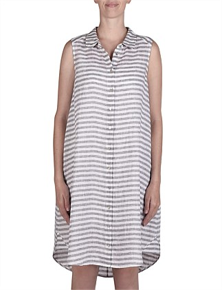 Sleeveless Stripe Button Thru Linen Dress