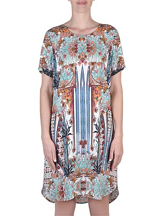 Short Sleeve Antique Print Dress