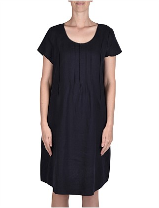 Short Sleeve Pintuck Linen Dress