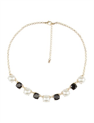 PEARL & STONE SHORT DECO NECKLACE