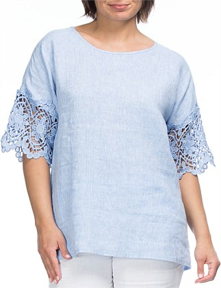 Lace Trim Sleeve Linen Top