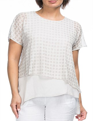 Check Textured Overlay Top