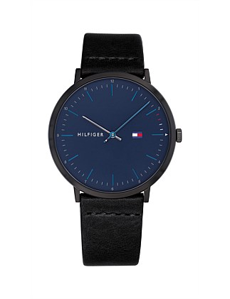 Analogue Watch Blue Dial Leather Strap