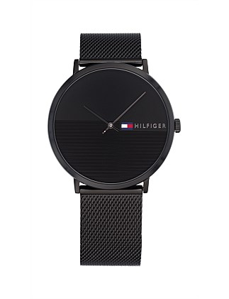 Analogue Watch Black Dial And Mesh Band