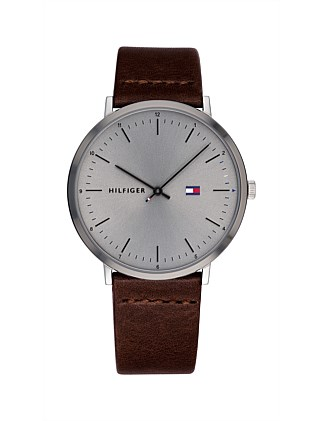 Analogue Watch Grey Dial Leather Strap