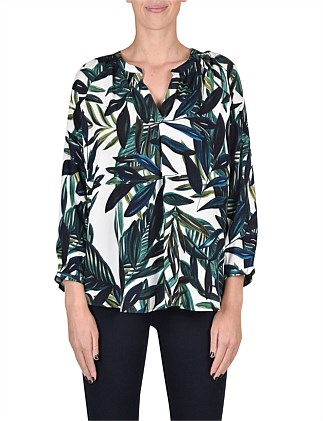 3/4 Sleeve Palm Print Top