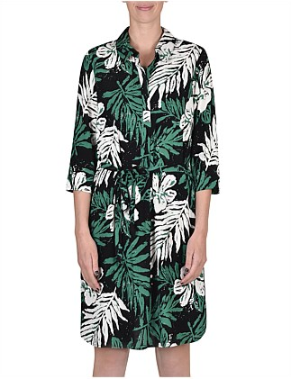 1/2 Sleeve Fern Print Dress