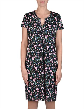 Short Sleeve Abstract Floral Print Dress