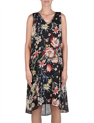 Sleeveless Hi/Lo Floral Dress