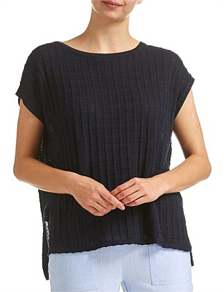 CHECK KNIT TOP