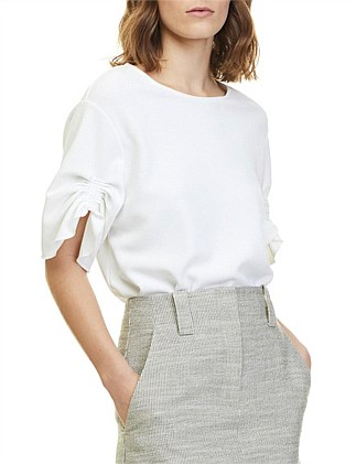 Textured Rouched Sleeve Top