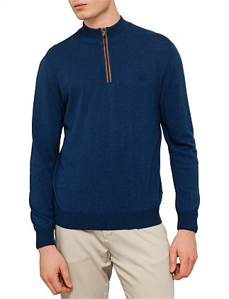 SOLID MOCK NK WITH 1/4 ZIP KNIT