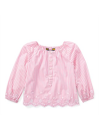 Striped Cotton Eyelet Top(2-7 Years)
