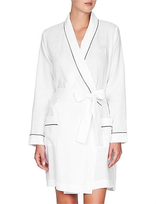 Linen Robe With Contrast Piping