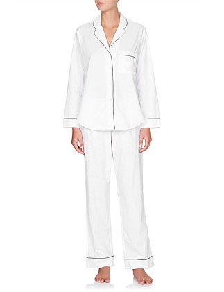 Long Sleeve Cotton PJ Set With Contrast Piping