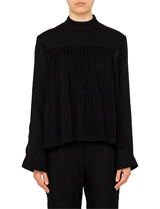 High Neck Silk Layer Blouse