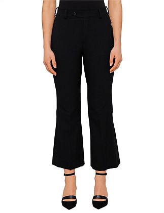 Button Front Pleat Wool Cropped Pant