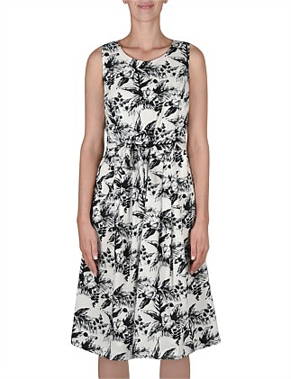 Sleeveless Mono Floral Dress W/Tie